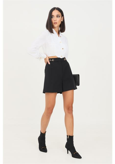 Black women's shorts by vicolo elegant model with clamps application at the waist VICOLO | Shorts | TX0066NERO