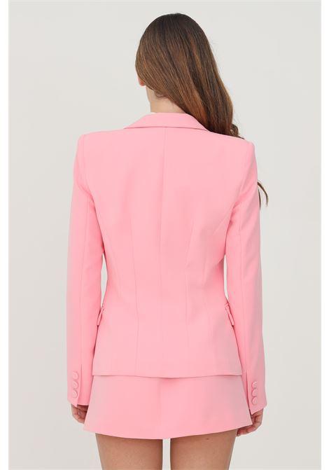 Giacca donna rosa monopetto con applicazioni oro sulle tasche VICOLO | Giacche | TX0102ROSA