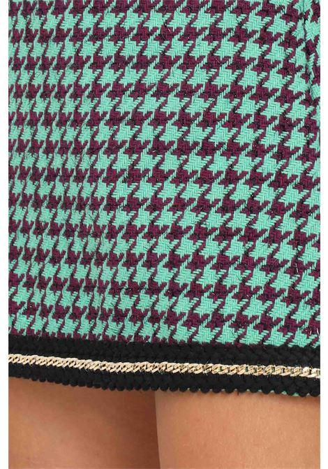 Green fantasy skirt by vicolo short cut with allover plot VICOLO | Skirt | TX0187FANTASIA