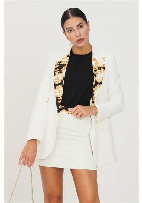 White women's jacket by vicolo with printed revers VICOLO | Blazer | TX0242BIANCO