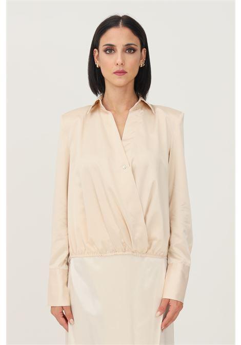 Blusa donna panna vicolo con elastico sul fondo VICOLO | Camicie | TX0303PANNA