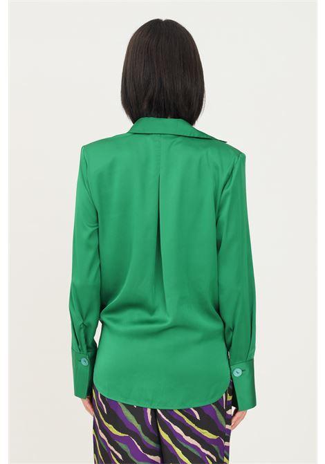 Blusa donna verde vicolo con elastico sul fondo VICOLO | Camicie | TX0303VERDE