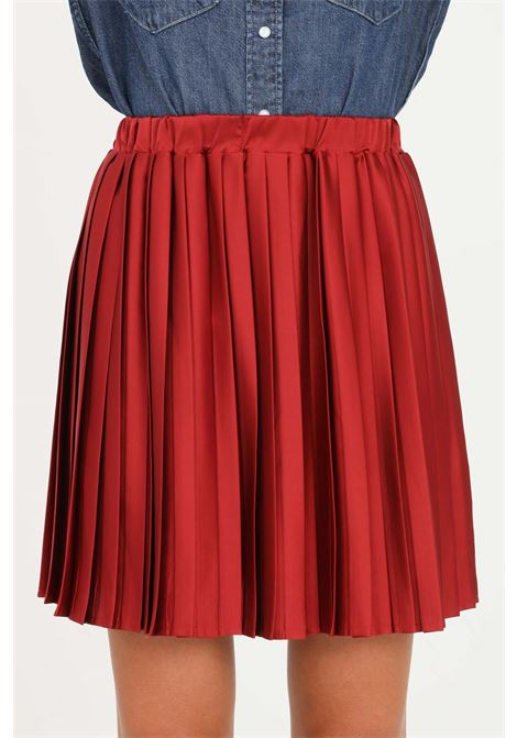 Red pleated skirt by vicolo short cut with elastic waistband VICOLO | Skirt | TX0349ROSSO