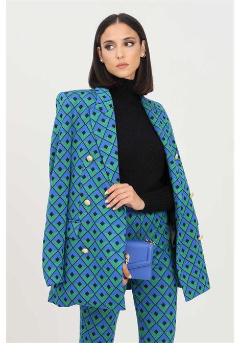 Blue green women's jacket by vicolo with allover geometric texture VICOLO | Blazer | TX0382FANTASIA