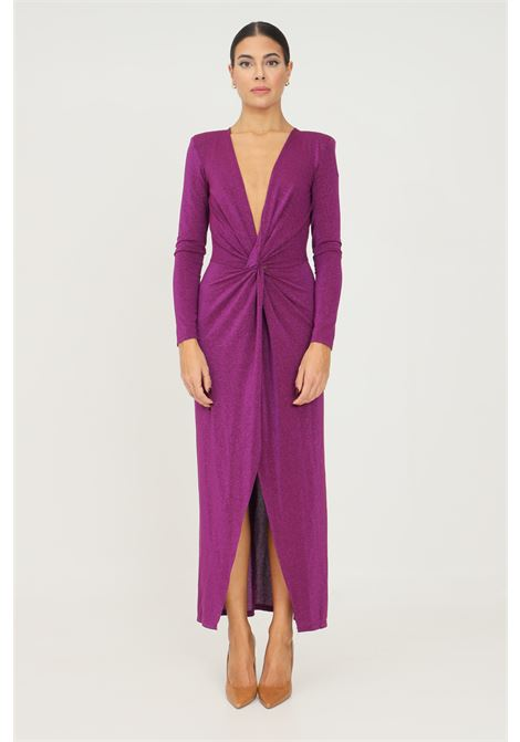 Violet dress by vicolo, long cut with deep slit on the front VICOLO | Dress | UX0058VIOLA