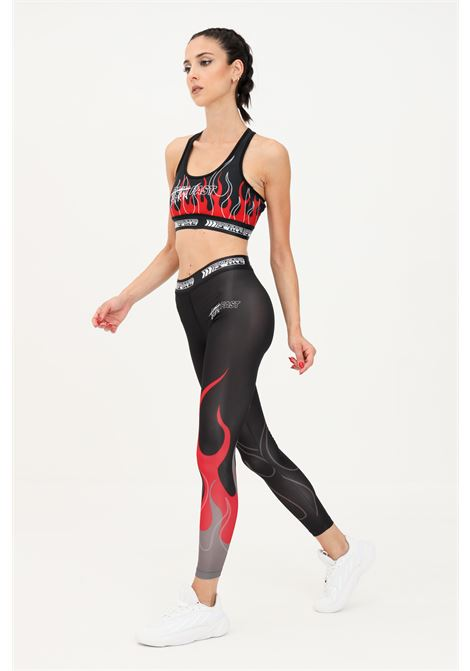 Leggings donna nero vision of super con stampa fiamma VISION OF SUPER | Leggings | VOS/ACTIVE1LEGRBLACK