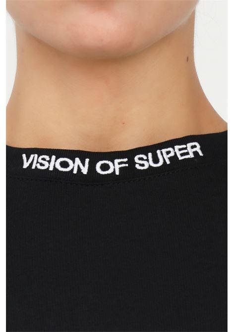 T-shirt unisex nero vision of super con stampa fiamma sulle maniche VISION OF SUPER | T-shirt | VOS/B1DOUBLEBLACK