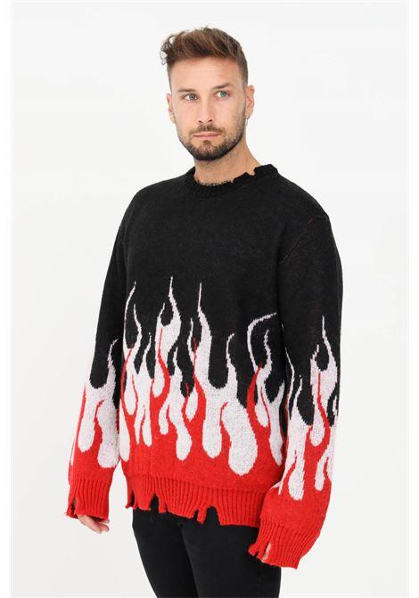 Maglioncino uomo nero rosso vision of super modello girocollo con stampa fiamma VISION OF SUPER | Maglieria | VOS/B8DOUBLE MOHAIRBLACK
