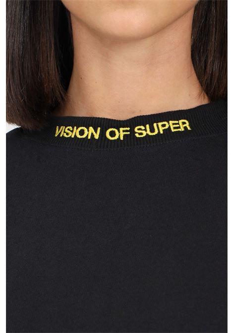 Felpa unisex nero vision of super modello girocollo con stampa fiamma VISION OF SUPER | Felpe | VOS/BLONGREDSFUBLACK