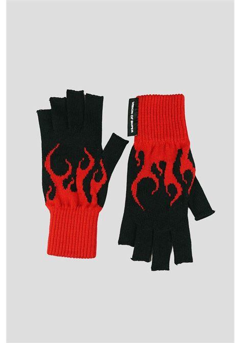 Guanti unisex nero rosso vision of super con stampa fiamma VISION OF SUPER | Guanti | VOS/GLOVESREDBLACK