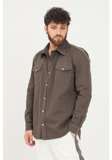 Camicia uomo fango yes london modello casual con zip e catena sulle spalle YES LONDON | Camicie | XCM7090FANGO