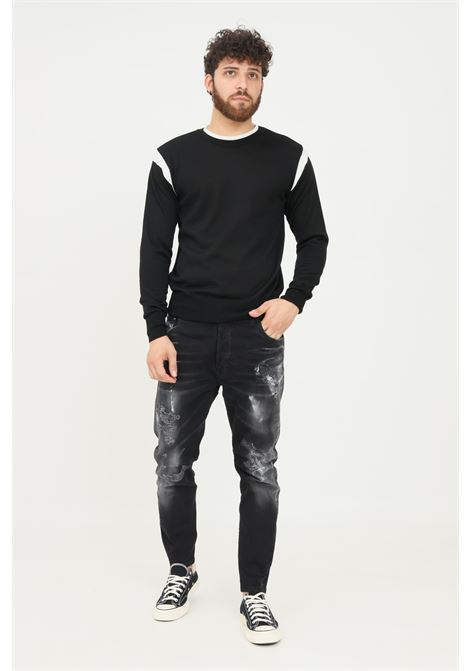 Jeans nero uomo yes london con stampa painting YES LONDON | Jeans | XJ29737TWISTDENIM