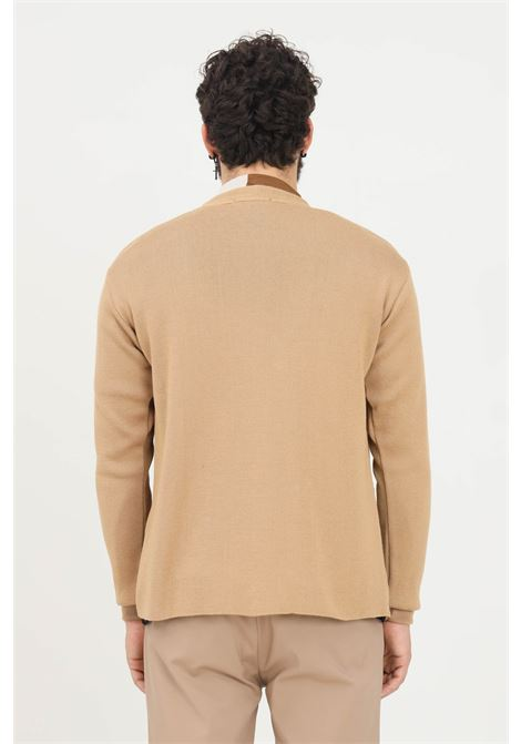 Brown men's cardigan by yes london with pockets YES LONDON | Cardigan | XML3502CAMEL