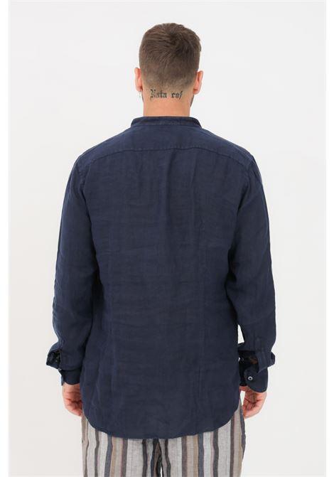 Camicia uomo blu Brancaccio Caruso con collo coreano BRANCACCIO CARUSO | Camicie | BBC09/21UNI