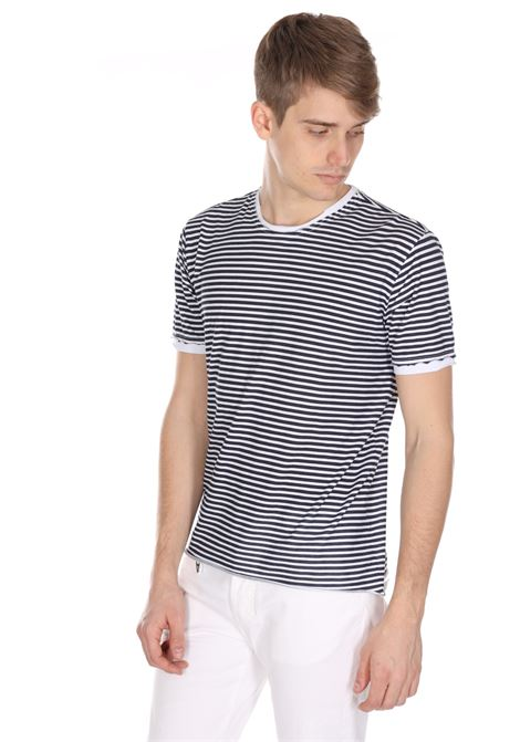 T-shirt Girocollo A Righe Orizzontali DANIELE ALESSANDRINI | T-shirt | M7351E803400223