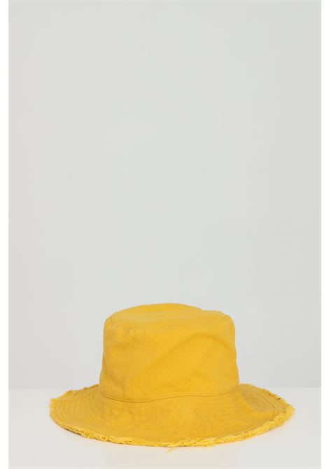 Yellow hat frayed bucket pattern.Addicted ADDICTED | Hat | BUCKET-HATGIALLO