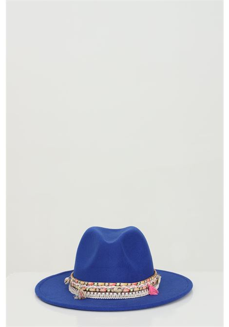 Blue Hat in borsalino style with applications.Addicted ADDICTED | Hat | HUT INDIANINOBLU