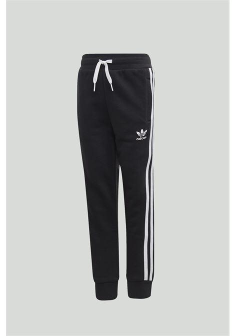 Tuta Trefoil Hoodie bambino/a nera Adidas completa di felpa e cappuccio e pantalone con elastico in vita ADIDAS | Tute | DV2847.