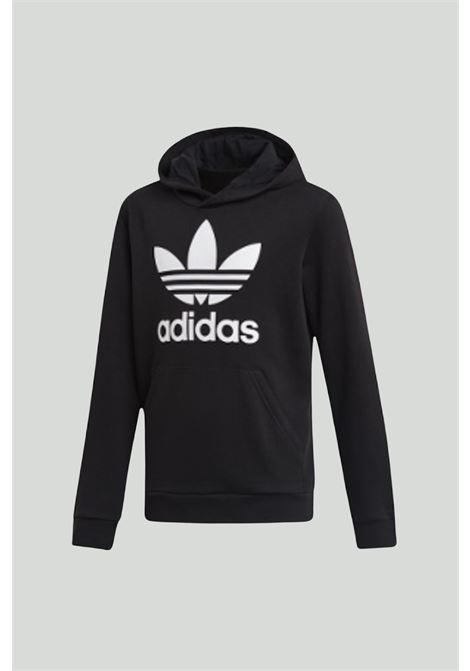Black Hoodie Trefoil sweatshirt with hood and maxi logo on the front. Baby model. Brand: Adidas ADIDAS | Sweatshirt | DV2870.