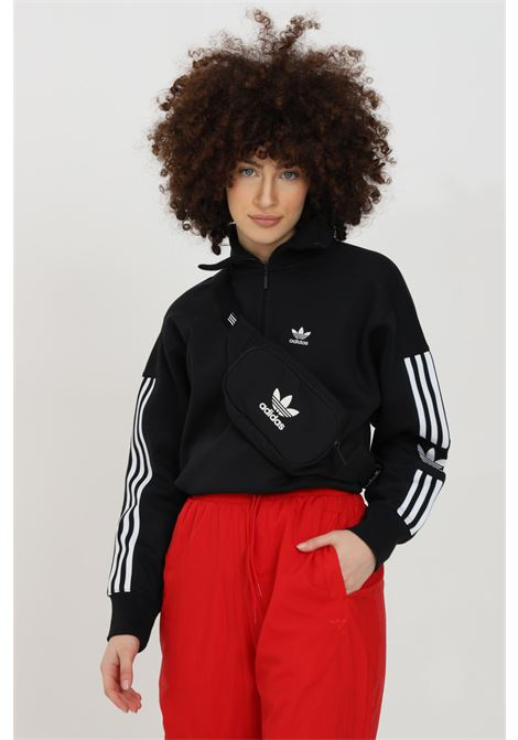 Black women's sweatshirt with half zip and side bands adidas ADIDAS | Sweatshirt | ED7526.