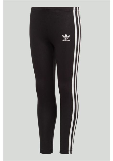 Black 3-stripes leggings with contrasting side bands and small logo on the front. Baby model. Brand: Adidas ADIDAS | Leggings | ED7737.