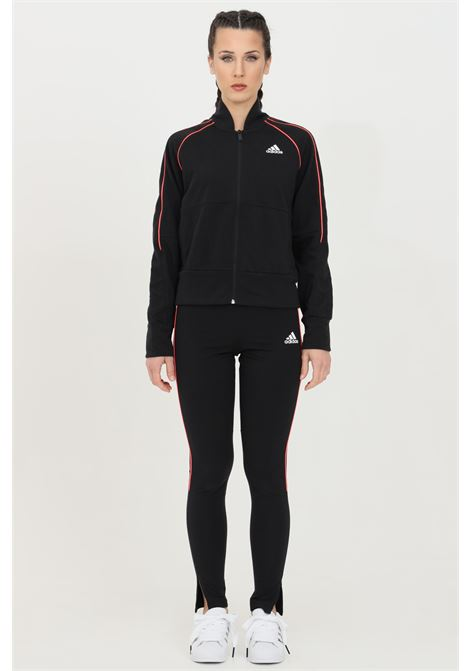 Adidas black woman full jumpsuit with bands to constrasto sportswear ADIDAS | Suit | FS6176.
