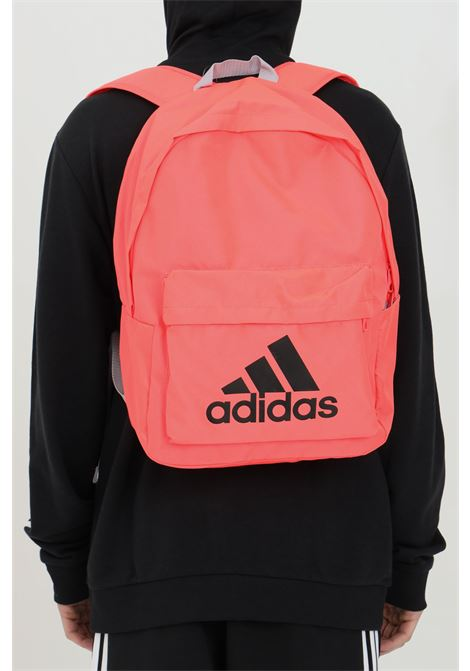 Pink adidas woman backpack in solid color with contrasting logo ADIDAS | Backpack | FT8763SIGPNK/BLACK