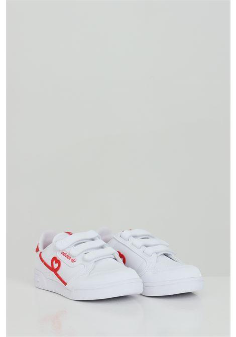 Sneakers Continental 80 CF C bambina bianche Adidas chiusura con velcro e stampa rossa a contrasto ADIDAS | Sneakers | FY2579.