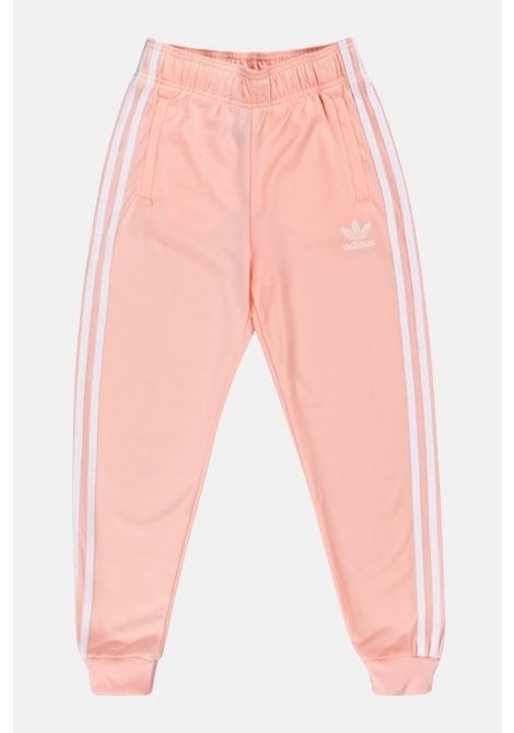 Pink trousers with contrasting side bands, elastic waistband and cuffs. Baby model. Brand: Adidas ADIDAS | Pants | GD2680.