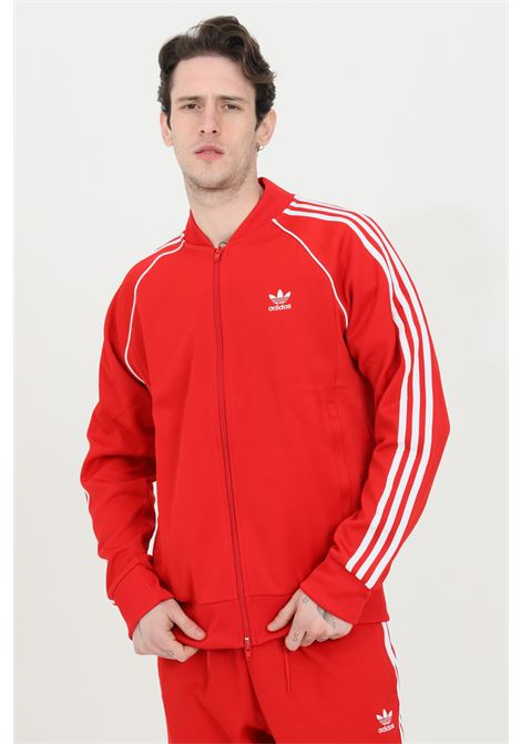 Men's adidas red sweatshirt with zip in solid color ADIDAS | Sweatshirt | GF0196.