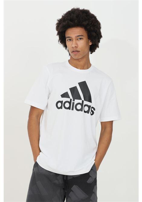 T-shirt uomo bianco adidas a manica corta con maxi logo frontale a contrasto ADIDAS | T-shirt | GK9121.