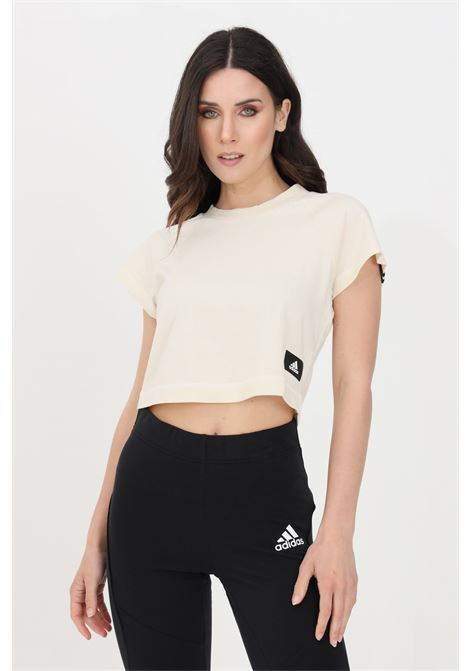 T-shirt recycled cotton crop donna beige adidas manica corta ADIDAS | T-shirt | GL0346.