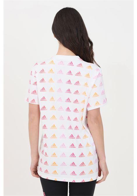 T-shirt essentials donna bianco adidas a manica corta stampa pattern ADIDAS   T-shirt   GL0532.