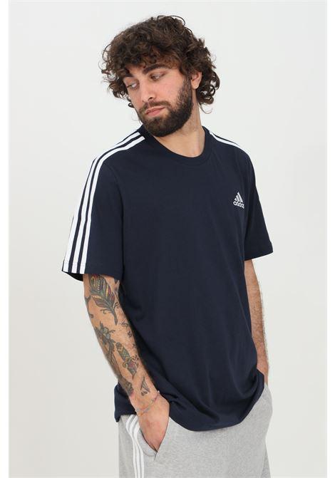 T-shirt essential 3-stripes uomo blu adidas a manica corta ADIDAS | T-shirt | GL3734.