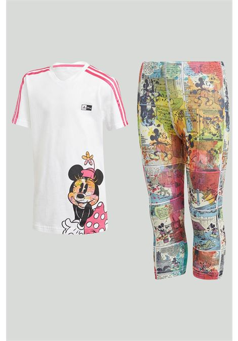 White-pink outfit with Minnie t-shirt and leggings with allover print. Baby model. Brand: Adidas ADIDAS | Kit | GM6921.