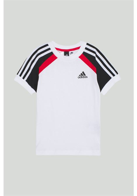 White bold tee t-shirt in solid color with logo on the front and black-red shoulders in contrast, print on the back. Baby model. Brand: Adidas ADIDAS | T-shirt | GM6999.