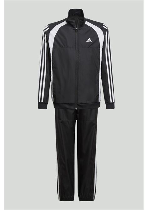 Black complete suit, sweatshirt with full-length zip and contrasting side bands, and trousers with spring at the waist and elastic cuffs. Baby model. Brand: Adidas ADIDAS | Suit | GM8918.
