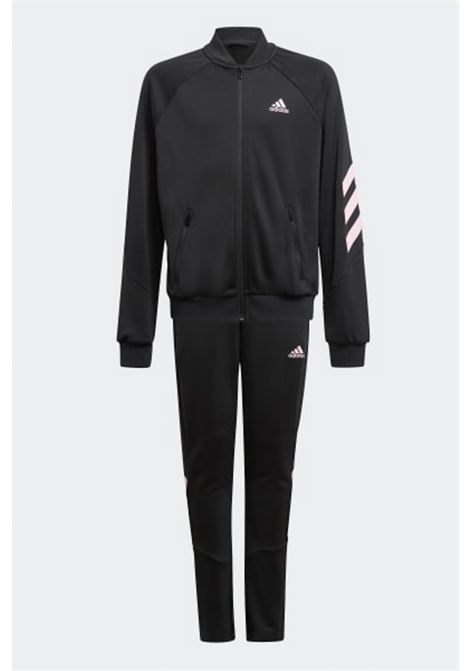 Black XFG 3-Stripes complete suit, sweatshirt with full-length zip and front logo, and leggings with pink bands and logo. Baby model. Brand: Adidas ADIDAS | Suit | GM8936.