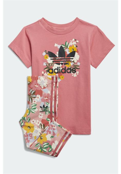 Pink baby outfit with flower print adidas  ADIDAS | Kit | GN2260.