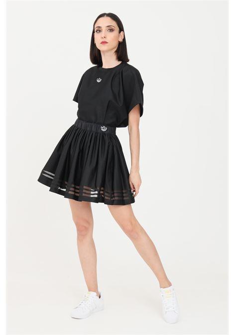 Gonna donna nero adidas corta con trasparenze ADIDAS | Gonne | GN3260.