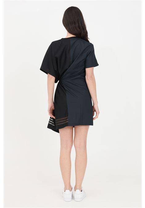 Abito donna nero adidas corto asimmetrico con rouches ADIDAS | Abiti | GN3273.