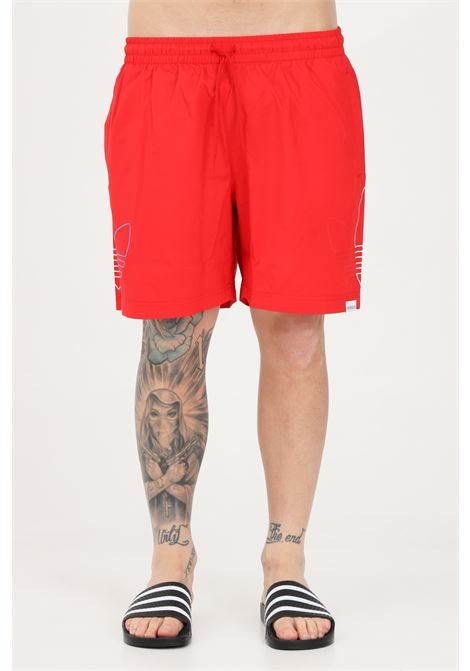 Red men's beach shorts with tricolor logo on the sides adidas  ADIDAS | Beachwear | GN3549.
