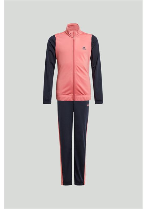 Pink-blue Adidas Essentials suit, bicolor sweatshirt with full-length zip and trousers with pink side bands. Baby model. Brand: Adidas ADIDAS | Suit | GN3954.
