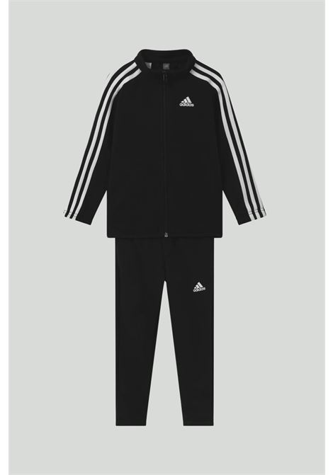 Black French terry suit, sweatshirt with zip and contrasting side bands, trousers with elastic waistband ADIDAS | Suit | GN3967.