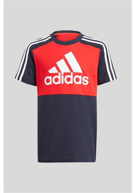 Black-red essentials colorblock t-shirt with maxi logo in contrast. Baby model. Brand: Adidas ADIDAS | T-shirt | GN3980.