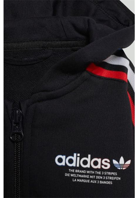 Black newborn adicolor full-zip hoodie jumpsuit adidas ADIDAS | Suit | GN7418.