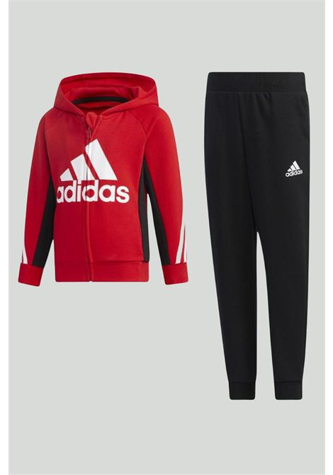 Red-black suit, hoodie with zip and plain trousers with contrasting logo. Baby model. Brand: Adidas ADIDAS | Suit | GP0364.