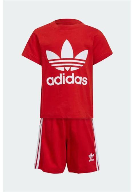 Completino neonato rosso adidas con stampa logo a contrasto ADIDAS | Completini | H35556.