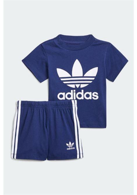 Completino neonato blu adidas con stampa logo a contrasto ADIDAS | Completini | H35560.