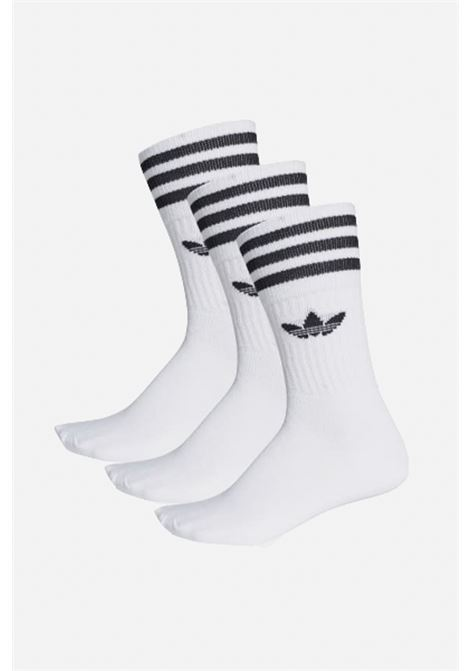 White unisex socks with contrasting logo and bands 3 pairs adidas  ADIDAS | Socks | S21489.